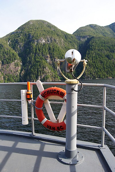 Passengers aboard the MV Uchuck III enjpy the stunning coastal scenery of Nootka Sound and Kyuquot Sound.
