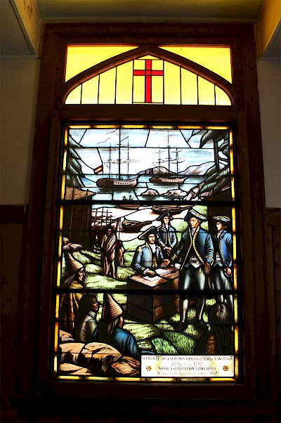 The Spanish Government donated two stained glass windows to the Catholic Church converted Cultural Centre commemorating the Spanish Fort settlement from 1789 – 1795.