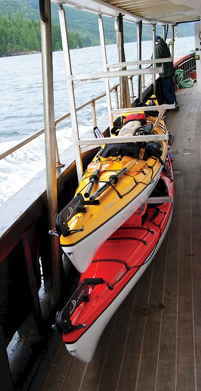 Kayakers use the MV Uchuck III to reach their starting point in Nootka Sound or Kyuquot Sound. Kayak and gear is safely stowed in custom built racks to keep them safe and sound during the voyage.