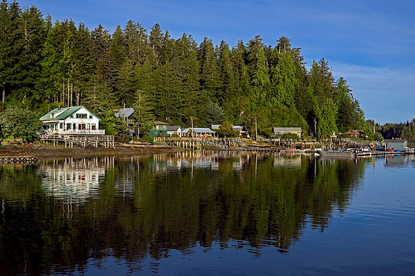 MV Uchuck III arriving at the Village of Kyuquot, Kyuquot Sound, Vancouver Island.