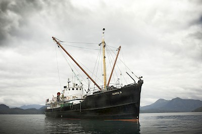 The M. V. Uchuck III is a converted WW2 Minesweeper that can carry up to 70 tons of freight and passengers on her route through Nootka Sound, Esperanza Inlet and Kyuquot Sound; dropping off supplies along her route.
